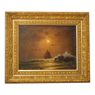 Antique Nocturnal Marine Landscape Painting