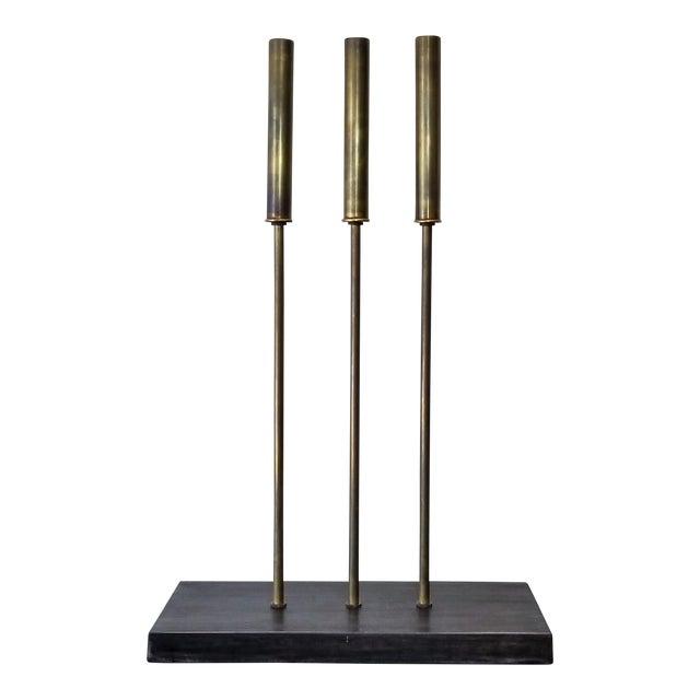 Sabin Modern Brass Cattail Table Lamp For Sale