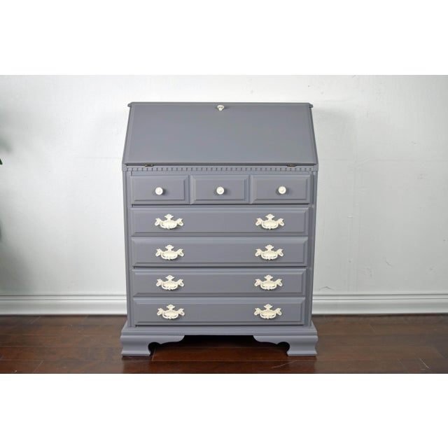 White 19th Century Traditional Gray and Off White Secretary Desk For Sale - Image 8 of 8