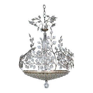 1930s French Silver Plate Chandelier For Sale
