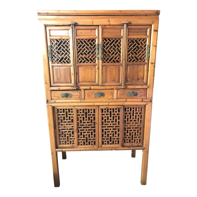 Vintage Bamboo Cabinet - Image 1 of 6