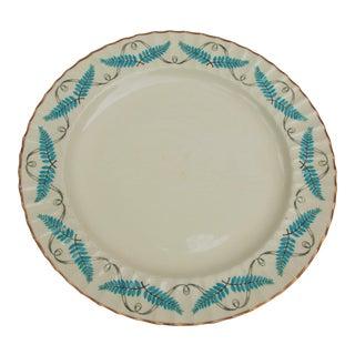 Vintage Turquoise Spode Ferncroft Round Serving Platter For Sale