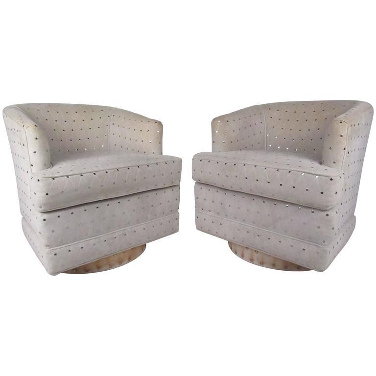 Attirant Vintage Modern Barrel Back Swivel Chairs For Sale