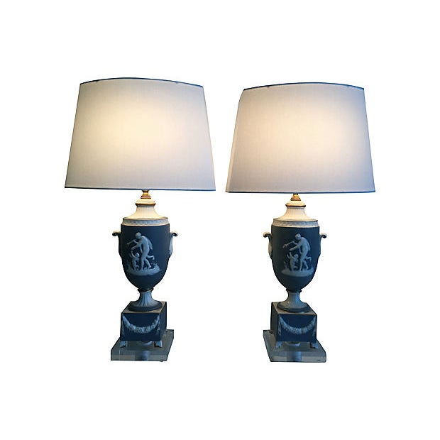 Cornflower Blue 1950s Italian Jasperware Lamps & Shades - a Pair For Sale - Image 8 of 11