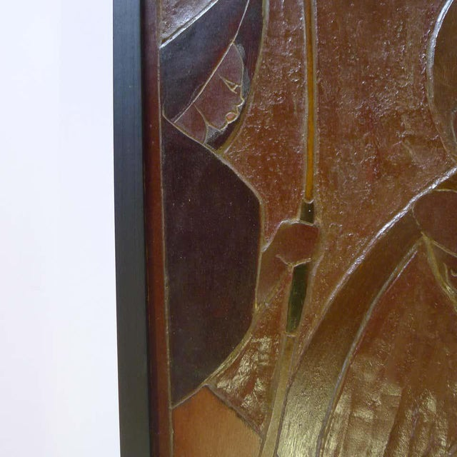 Mid 20th Century Mid 20th Century Africana Tribal Relief Panel Art Signed Jan De Swart For Sale - Image 5 of 8