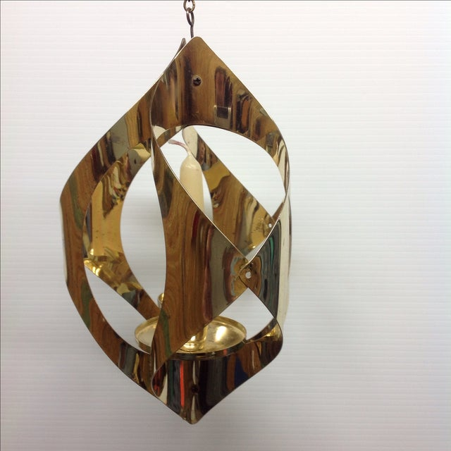 Hollywood Regency Brass Candle Pendant Light - Image 3 of 6