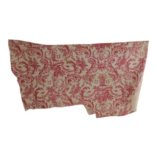 Fabric Antique Red or Pink Rococo Toile Block Printed Linen Material C1860 For Sale