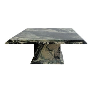 1980s Postmodern Green Marble Coffee Table For Sale