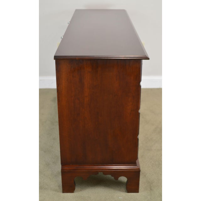 Statton Solid Cherry Long Dresser With Mirror For Sale - Image 10 of 13