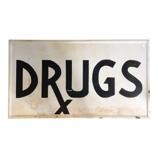 Handpainted Porcelain Drugs Pharmacy Sign For Sale