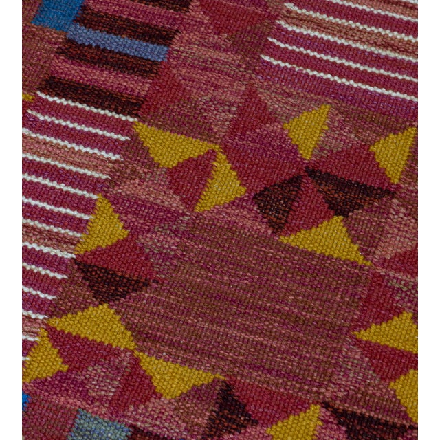 Mid-Century Modern Hand-Woven Swedish Style Wool Flat-Weave Rug For Sale - Image 3 of 7