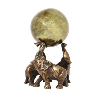 Vintage Brass Elephant Trio Stand and Brass Sphere For Sale