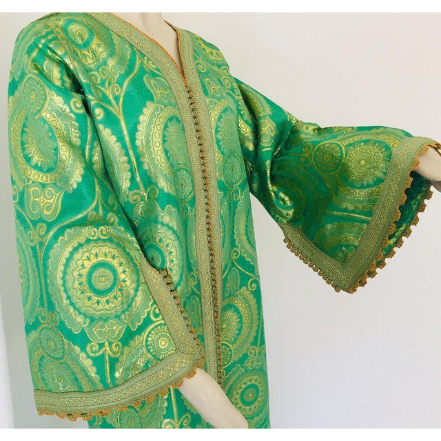Elegant Moroccan Caftan Lime Green and Gold Metallic Floral Brocade For Sale In Los Angeles - Image 6 of 13