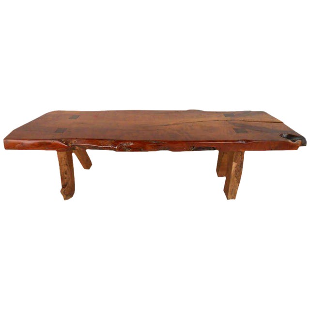 Rustic Wood Slab Coffee Table For Sale