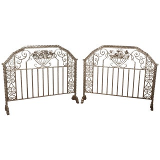 Art Deco Nickeled Hand-Hammered Iron Fire Screens, Signed - 2 Available For Sale