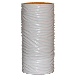 Large White Grooved Sonoma Vase For Sale