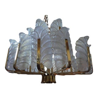 Large Carl Fagerlund for Orrefors Two Tiered Brass and Glass Chandelier For Sale