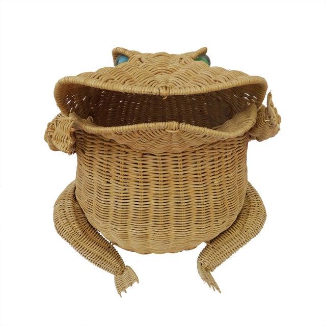 1970s Vintage Whimsical Rattan Wicker Frog Basket For Sale - Image 11 of 11