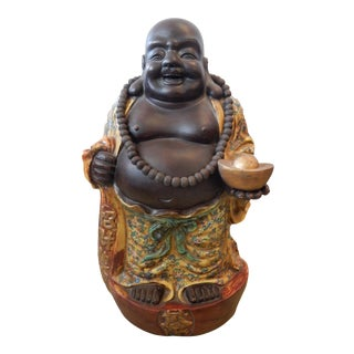 """Lg Famille Jaune Porcelain Happy/Laughing Buddha 30"""" H For Sale"""