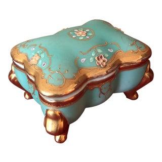 Antique Turquoise Ceramic Jewelry Box