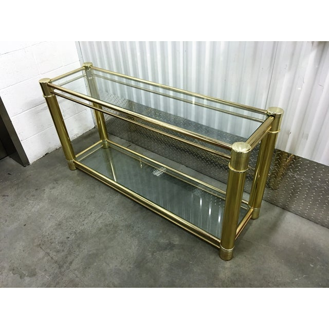 Brass Frame Double-Tier Glass Console Table - Image 6 of 6
