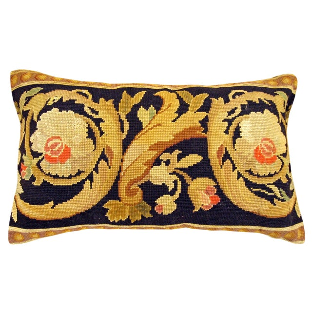 Antique French Needlepoint Carpet Pillow For Sale