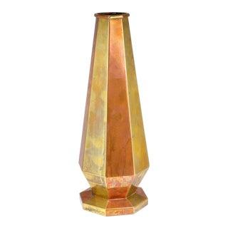 1919 Antique P. LeRue Copper Brass Metal Obelisk Vase For Sale