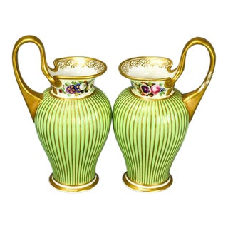 1920s French Porcelain Hand Painted Handled Vases - a Pair For Sale