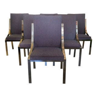 Polished Chrome Dining/ Office Chairs Newly Upholstered - Set of 6 For Sale