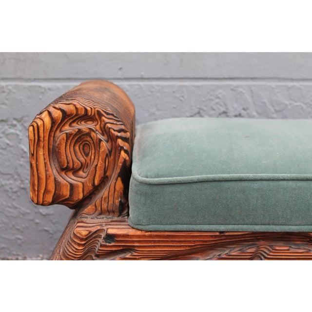 1940's Mid-Century Carved Wood Sitting Bench - Image 5 of 11