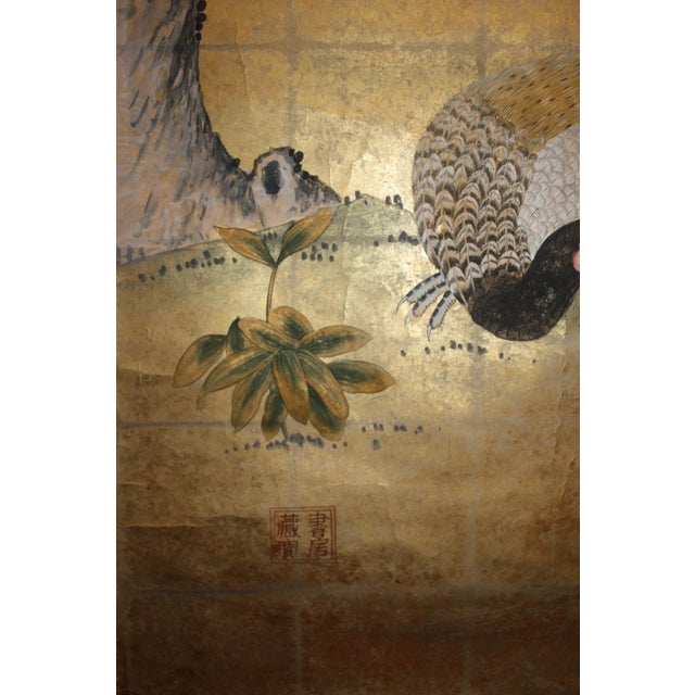 Asian Gold Leaf Mural Wallcovering Panel For Sale - Image 3 of 9