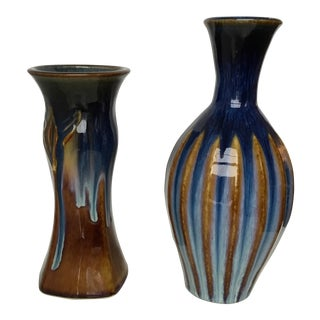 Studio Pottery Vases in Blue and Green - A Pair