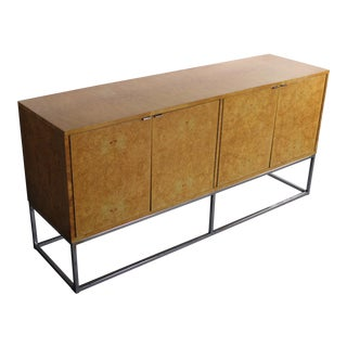 Bernhardt Burlwood Credenza on a Chrome Base in the Manner of Milo Baughman For Sale