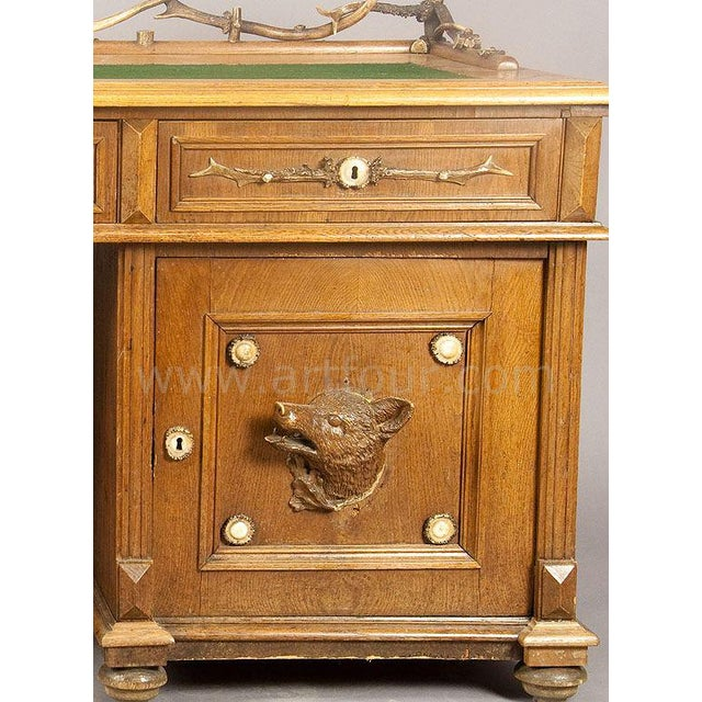 Early 20th Century Large Oak Wood Desk With Antler Decorations By Rudolf Brix 1900 For Sale - Image 5 of 6