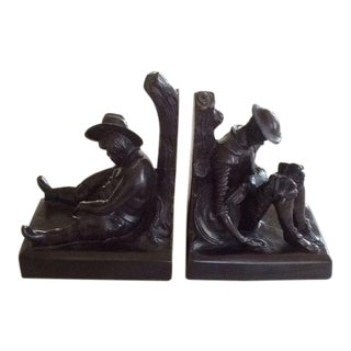 1960s Traditional Maitland & SmithBronze Don Quixote and Sancho Panza Bookends - a Pair