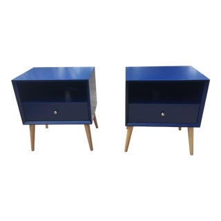 Modern Blue Tapered Leg Nightstands - A Pair For Sale