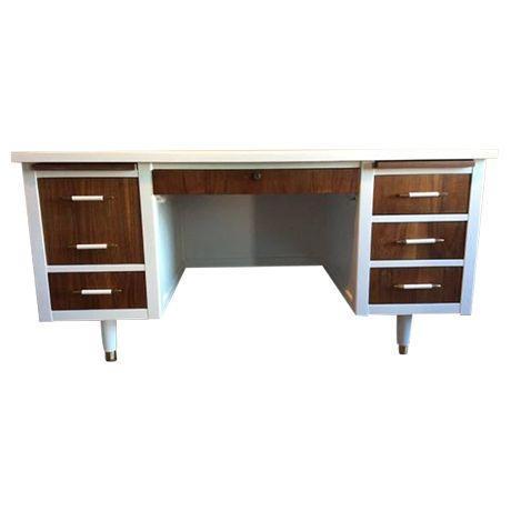 Bianca Mid Century Modern White & Walnut Desk - Image 1 of 4