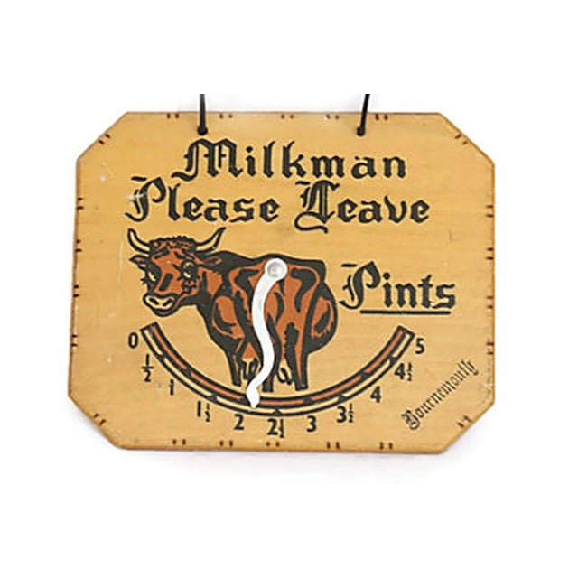 Charming 1950s English milk man door sign. Move dial to number of pints needed!