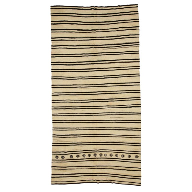 1960s Vintage Striped Natural Kilim Rug- 6′2″ × 12′1″ For Sale