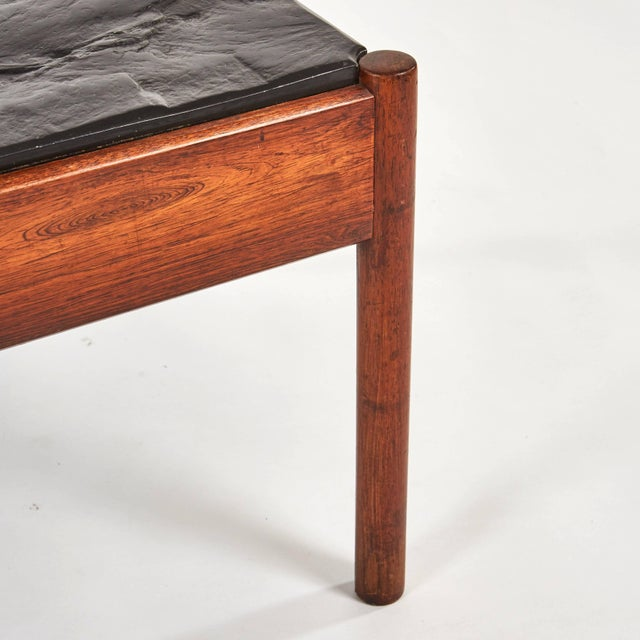 Mid-Century Modern Mid-Century Modern French Stone Top Coffee Table With Mahogany Base For Sale - Image 3 of 7