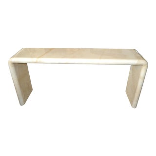 Karl Springer Mid-Century Modern Long Lacquered Goatskin Console Table, 1970 For Sale