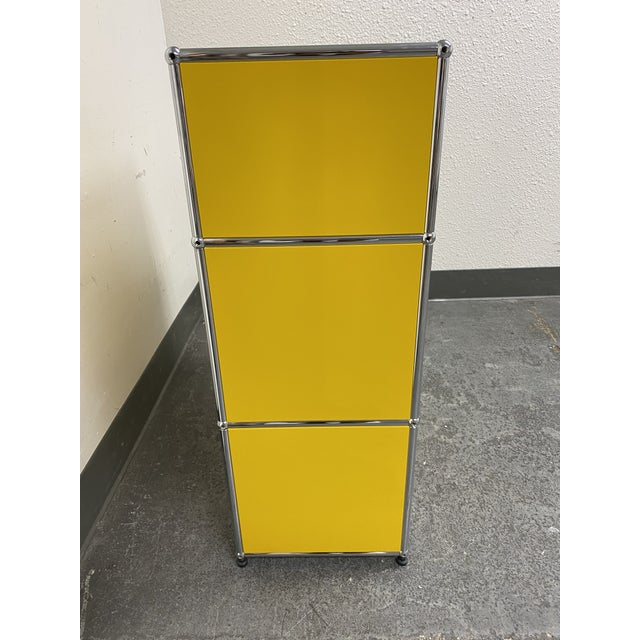 Metal Usm Fritz Haller Yellow Filing Cabinet For Sale - Image 7 of 11