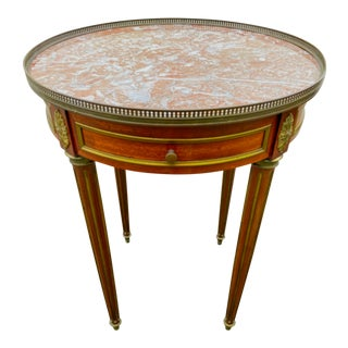 French Marble Top Bouillotte Table with Brass Gallery For Sale