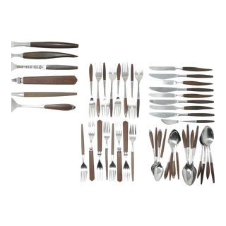 Vintage Danish Modern MIX Match Stainless Steel & Wood Flatware Set B – 8 Place Settings For Sale