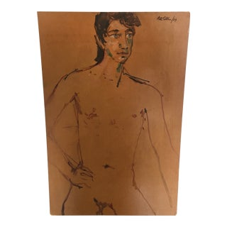 1984 Signed Male Nude Painting For Sale