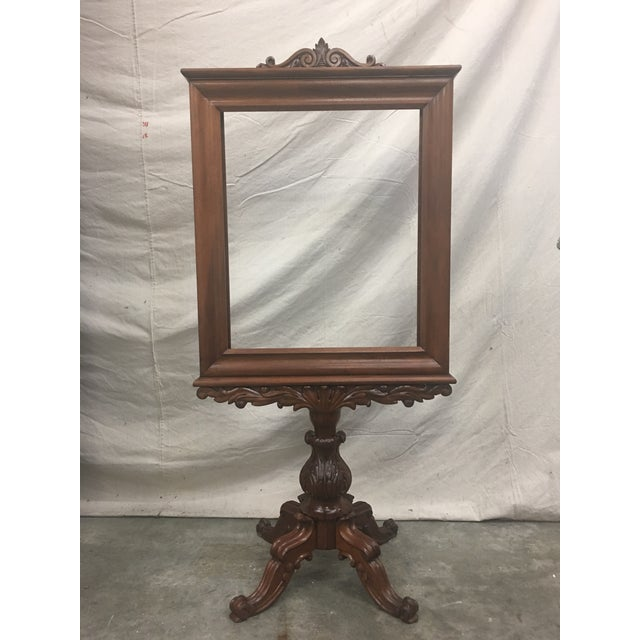 English Antique Mahogany Expandable Fireplace Screen on Pedestal For Sale - Image 11 of 11