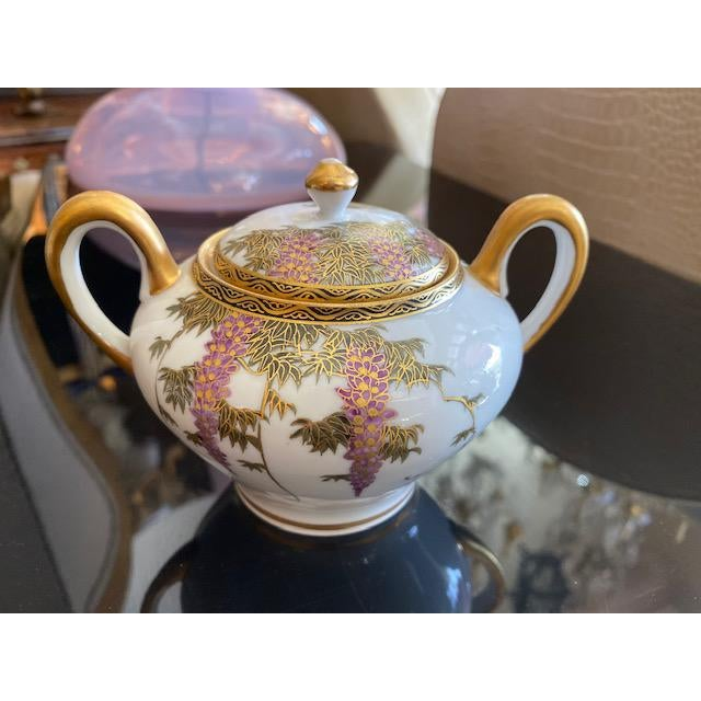 Satsuma Vintage Porcelain Japanese Satsuma Hand Painted Tea Set - Set of 15 For Sale - Image 4 of 12