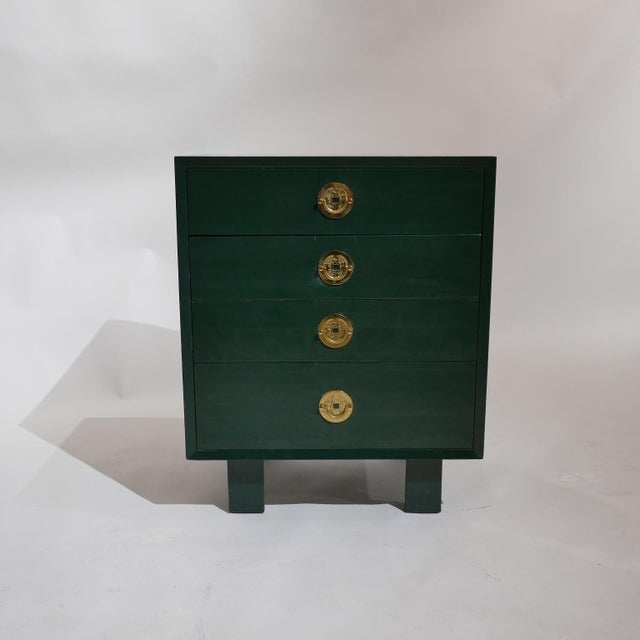 Brass George Nelson for Herman Miller Green Lacquer Pier Chests or Dressers - a Pair For Sale - Image 7 of 8