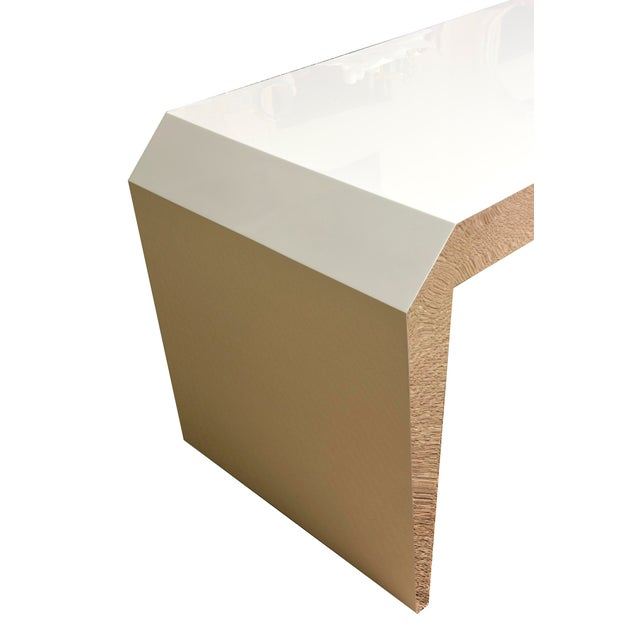 Silver Monumental White Lacquered Wood and Stainless Steel Sculptural Desk For Sale - Image 8 of 8