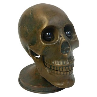 Victorian Bronze Skull With Glass Eyes, by s.w. Farber, New York For Sale